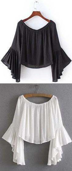 Off-The-Shoulder Bell Sleeve Blouse - White & Black from romwe.com