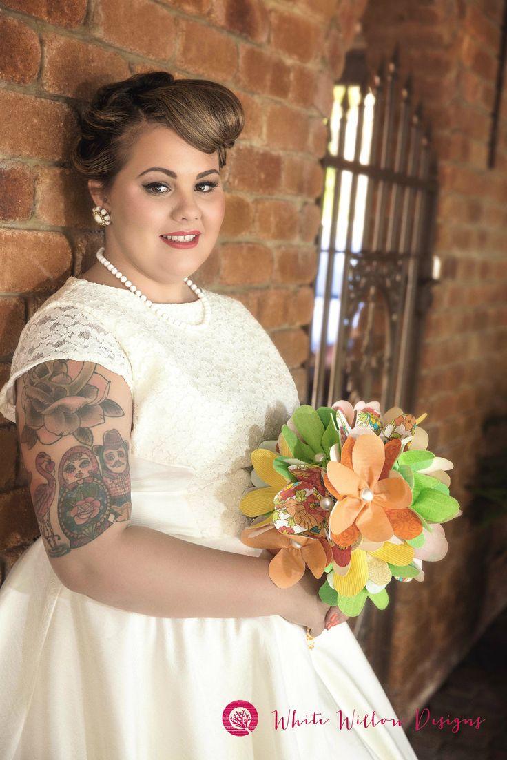 Image L'amour Photography Vintage Bride Magazine, Retro bride, alternative bride, fabric wedding flowers, brides bouquet