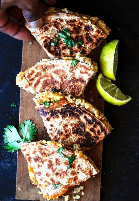 All you need is a cilantro yogurt dipping sauce to serve next to these red split lentil quesadillas, and you'll be as golden as the edges of my chapati bread!