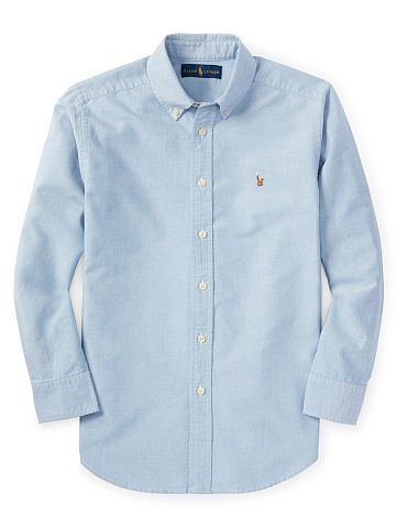 Boys 6 - 14 years Solid Cotton Oxford Shirt - Boys 6 - 14 years Shirts - Ralph Lauren France