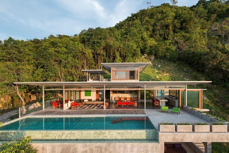 Nahý dom, Marc Gerritsen, dom na pláži, úžasné výhľady z okien súkromnom dome, v súkromnom dome s bazénom, terasa s bazénom