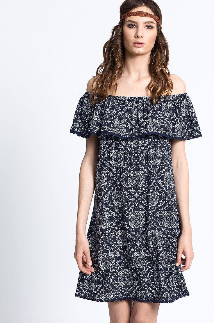 Medicine - Sukienka z falbaną off-shoulder Artisan
