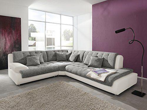 Wohnlandschaft Flame in Weiß Grau Riesen XXL Sofa Megasofa