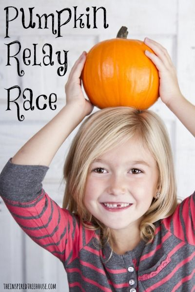 Pumpkin relay race for kids to work on gross motor skills, motor control, coordination, strength, midline crossing, proprioception, and social skills