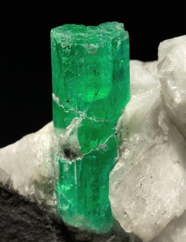 Beryl (Emerald) with Calcite. Cunas Mine, Maripí, Boyacá, Colombia.