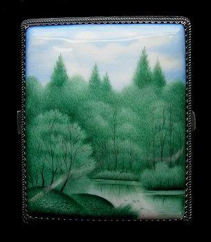 Rectangular Jewelry Enamel Box  Green River by RussianRostovJewell, $150.00
