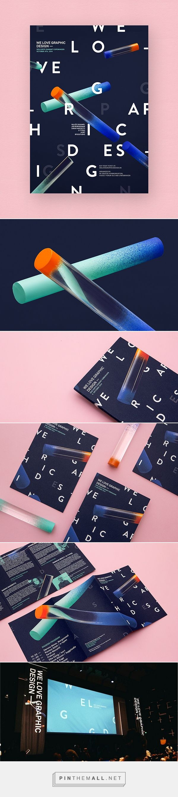 dark background, scattered typography, gradients, text in corners, sans serif font. We Love Graphic Design on Behance - created via http://pinthemall.net