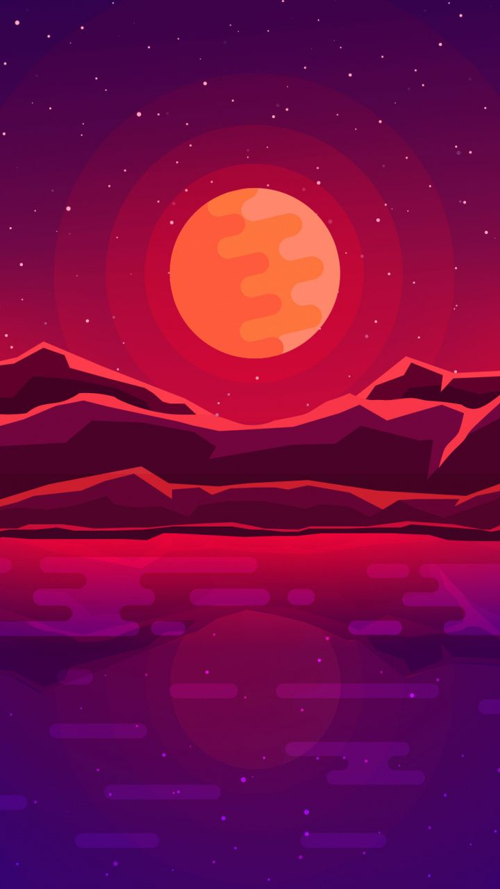 Moon rays, red space, sky, abstract, mountains wallpaper on in 2019 | Illustration | Pinterest | Wallpaper, Art and Mountain wallpaper
