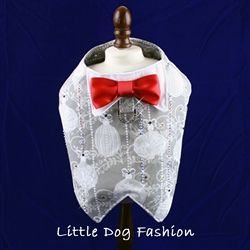 Handmade, designer Tuxedo Harnesses Vests for Dogs with Christmas ornaments Print and crystal embellishemnst