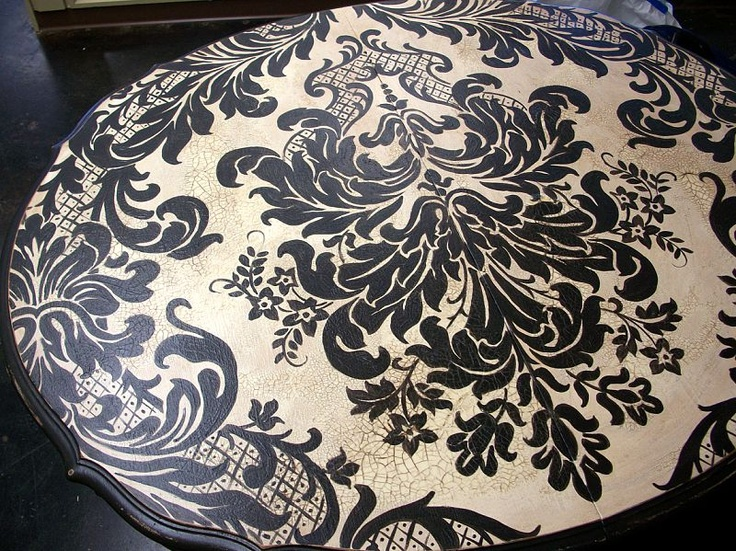 Hand Painted Furniture ~ Black And White Damask. I Like The Look Of The  Black U0026 White Damask.
