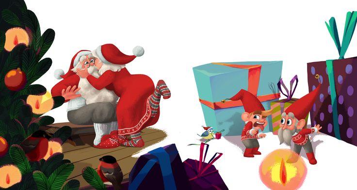 Christmas Love. Mrs Claus kissing Santa Claus.