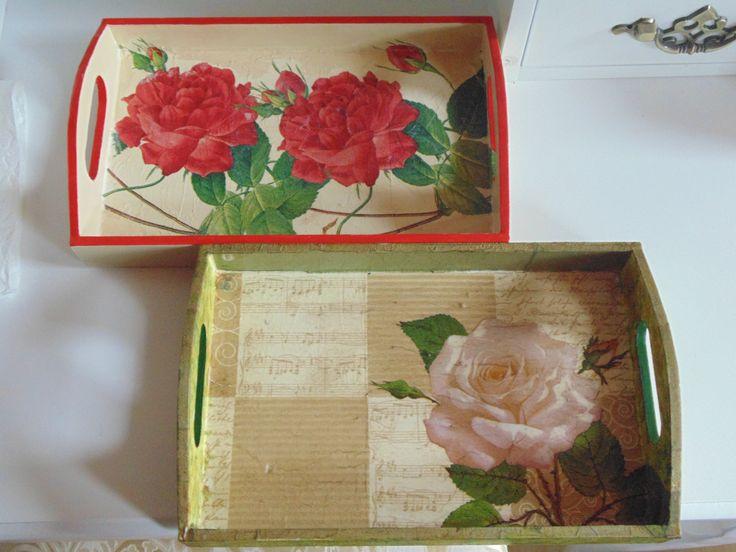 Decoupage tray roses