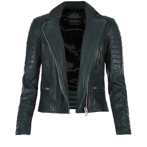 AllSaints Forest Leather Biker Jacket (345 AUD) ❤ liked on Polyvore featuring outerwear, jackets, coats, leather jackets, tops, bottle green, moto biker jacket, leather moto jacket, motorcycle jackets and blue biker jacket