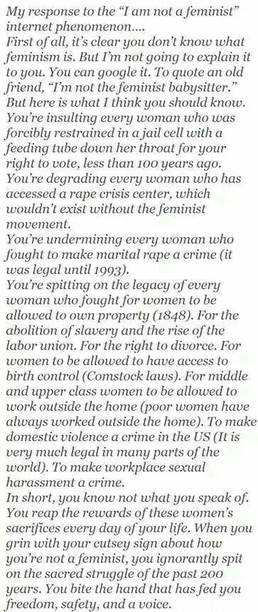 "Response to ""women against feminism"""