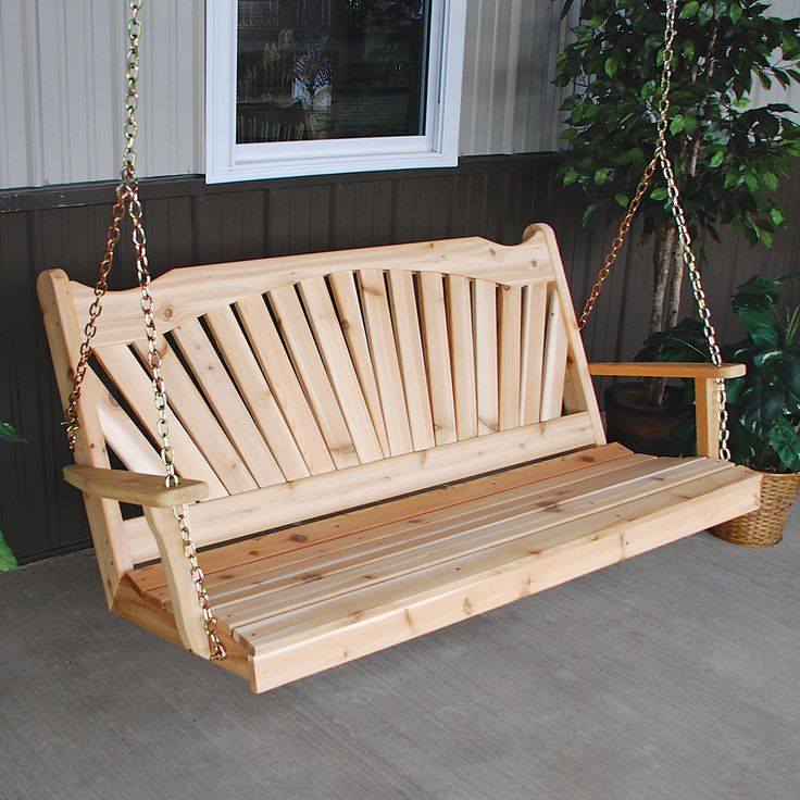 A & L Furniture Fanback Western Red Cedar Porch Swing   from hayneedle.com