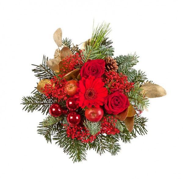 """Pflanzen-Kölle Weihnachtsstrauß """"Tannenduft"""". Rot-goldener Weihnachtsstrauß mit dezentem Tannenduft und glänzenden Kugeln in traditionellem Weihnachtsrot. Ideal als Mitbringsel zum Adventstee."""