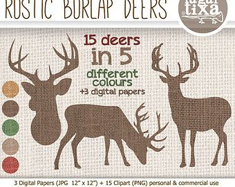 Imágenes de Renos Ciervos Venados Burlap Costal Papel Digital Fondos Navidad Rústico para Blog Invitaciones tarjetas etiquetas textura tela