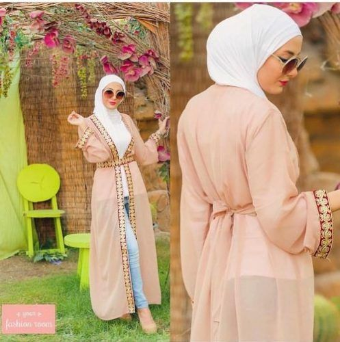 blush abaya chic  hijab look- Hijab fashion and Muslim style http://www.justtrendygirls.com/hijab-fashion-and-muslim-style/