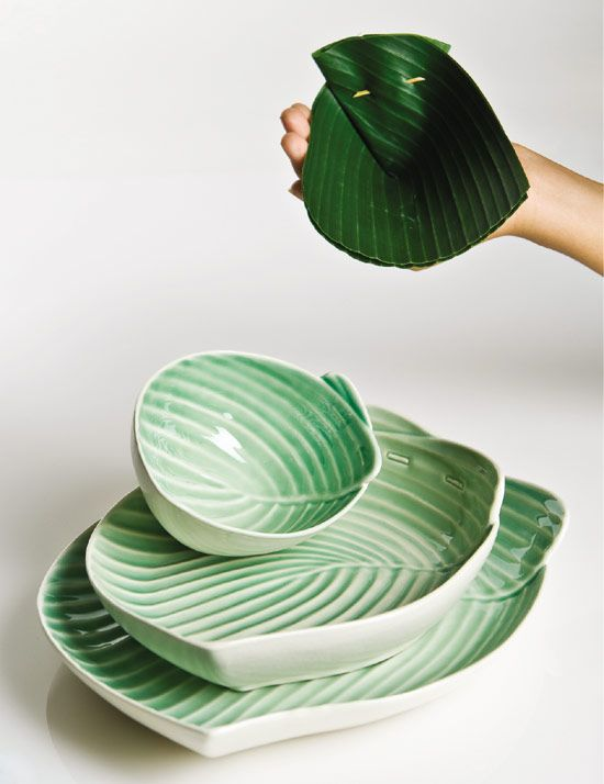 'Pincuk' plates and bowl by indonesian designer Sasanti Puri Ardini. Translated from folded banana leaves, pincuk is a series of plates and bowls that mimic the simple form of the ancient tool.