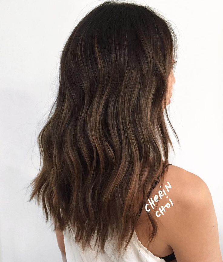 """""""Straight and dark hair transformed to lighter brunette hair with dimension. Cut and colored by @salsalhair #hair #haircolor #brunette #brunettehair by…"""""""