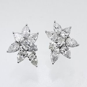 Delight her with a pair of Pear & Marquise Shape Diamond Earrings! || May's Jewelers