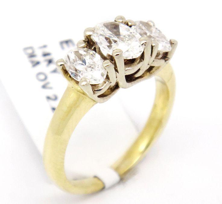 14k Yellow Gold SI1/H 2.23CT, Oval Cut Diamond Three Stone Engagement Ring,7.25