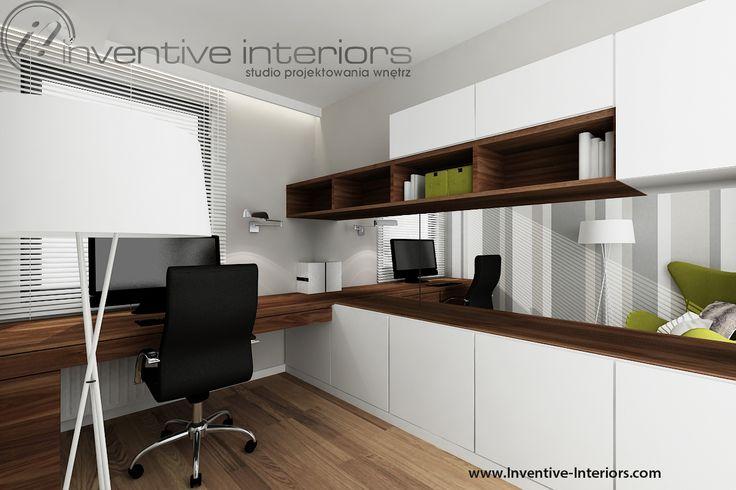 Projekt gabinetu Inventive Interiors - pasy i akcent zieleni w nowoczesnym gabinecie