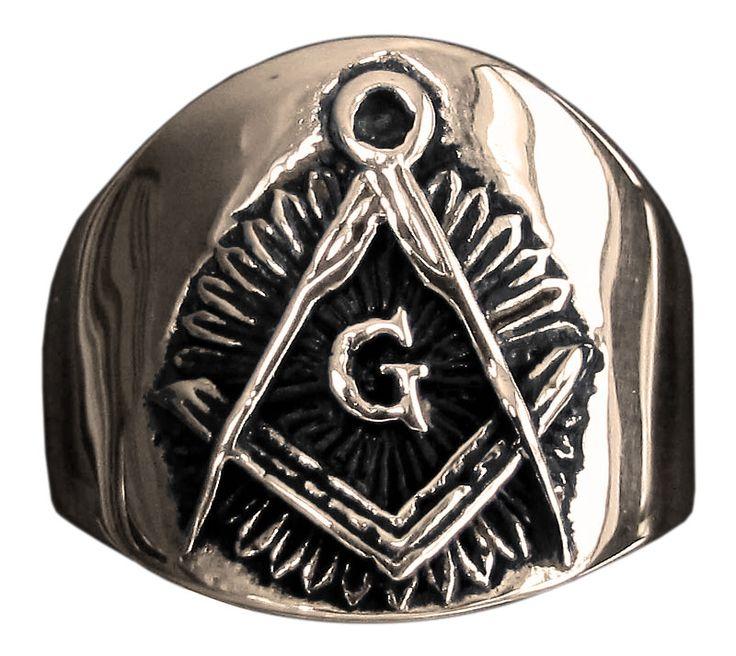 Freemason Ring Masonic Compass Symbol in Bronze