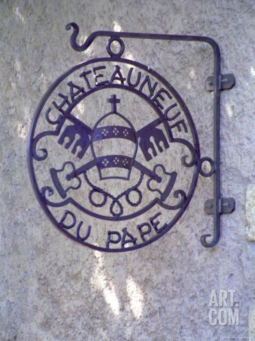 Sign Chateauneuf Du Pape, Pope's Mitra and Saint Peter's Keys, Chateauneuf-Du-Pape Photographic Print by Per Karlsson at Art.com