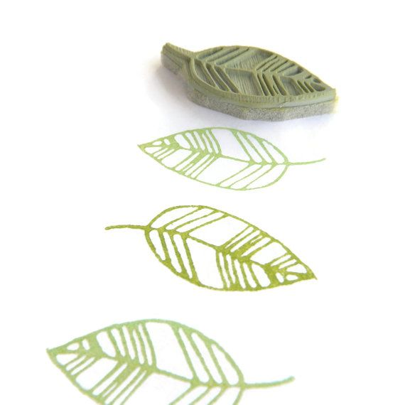 Mini Sweet Leaf Rubber Stamp - Spring Rubber Stamp - Cling Rubber Stamp