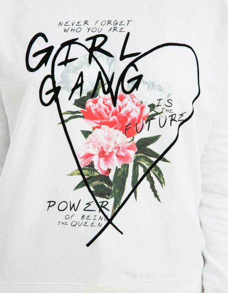 BSK floral print sweatshirt - Sweatshirts - Bershka United Kingdom