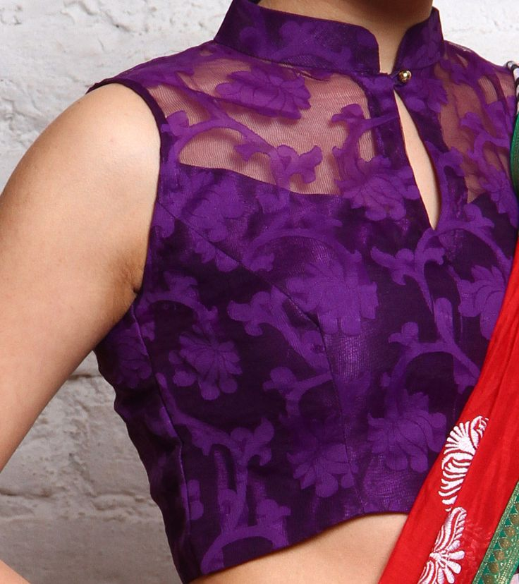 High neck purple brasso blouse.. get it stitched at http://mytailor.in