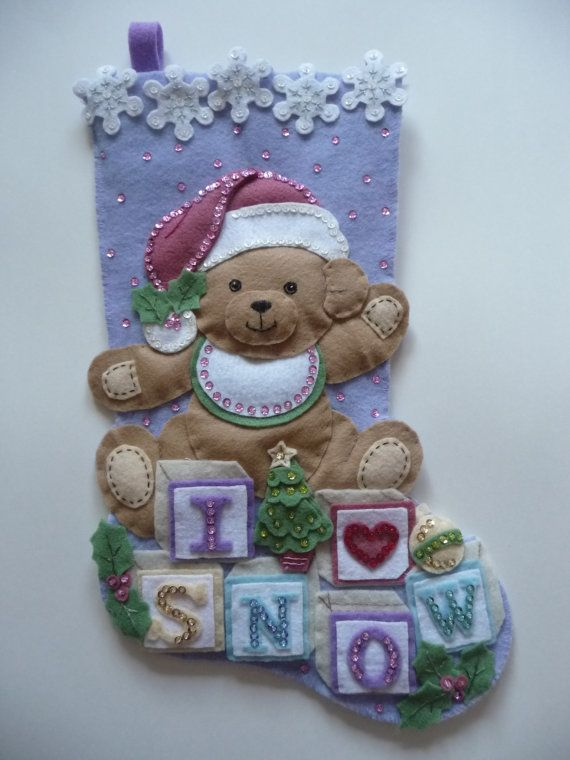 """Artículos similares a Bucilla finished felt Christmas stocking, 18"""" fully lined, heirloom quality """"Baby bear"""" teddy bear, completed infant child's hand sewn en Etsy"""