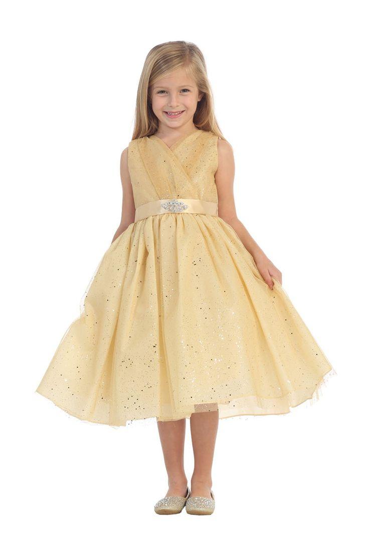 Gold Tulle Glitter V-Neck Flower Girl Dress