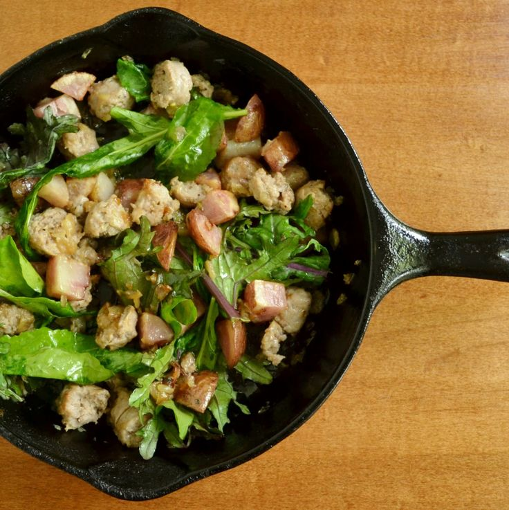 Sausage, Potatoes, Onion, and Greens from Real Food Real Deals