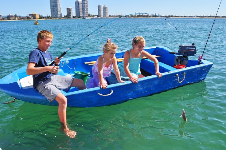 Kids fishing from the Coomera Houseboat tender.  #coomerahouseboats   #Goldcoast  #houseboat  #holiday  #holidays  #boating  #fishing  #Houseboating