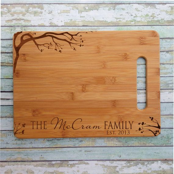 Cherry Blossom Personalized Bamboo Cutting Wedding Gift by PersonalizedGallery, $24.00