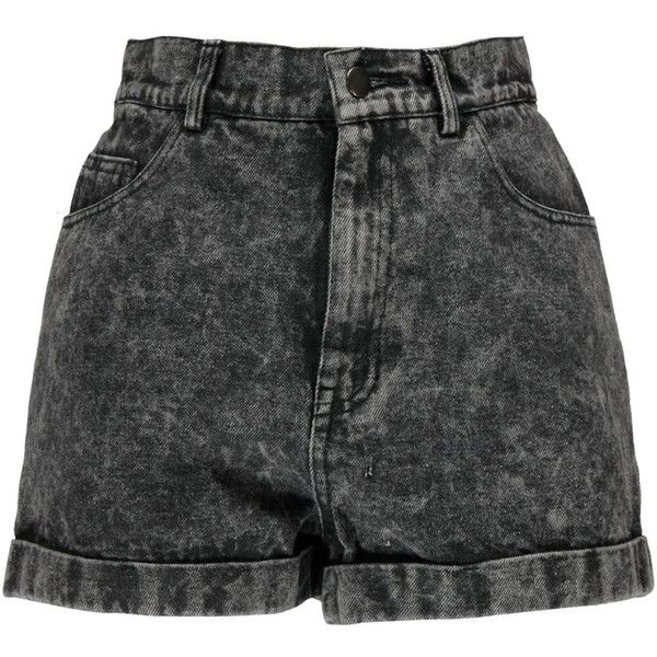 Boohoo Alice Grey Acid Wash High Waist Denim Shorts (40 AUD) ❤ liked on Polyvore featuring shorts, bottoms, short, pants, high rise shorts, high-rise shorts, short jean shorts, high waisted shorts and high-waisted acid wash shorts