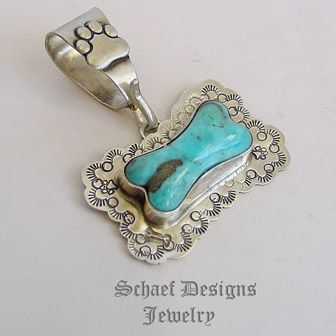 Schaef Designs Blue & Black turquoise & sterling silver Southwestern Dog Bone Tag pendant | New Mexico