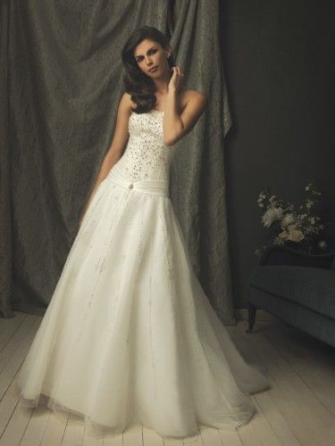 Tulle Strapless crystals Bodice Ball Gown Wedding Dress