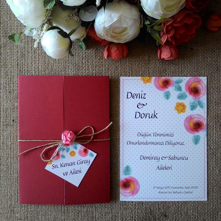 Masal Davetiye, Düğüm Modelimiz. Özel yapım dokulu kırmızı kapak. İp çiçek ve isimlik dahildir.