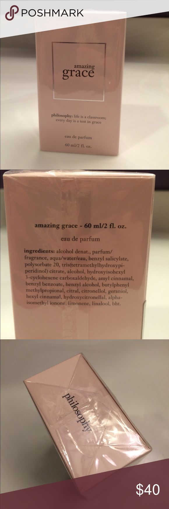 philosophy Amazing Grace Perfume New philosophy Amazing Grace eau de parfum. 60 ml/2 fl oz. Brand new in box & plastic wrapping in tact. This is Philosophy's bestselling scent. Notes include: bergamot, muguet blossoms & musk. The style is feminine, beautiful & clean. Sephora Makeup