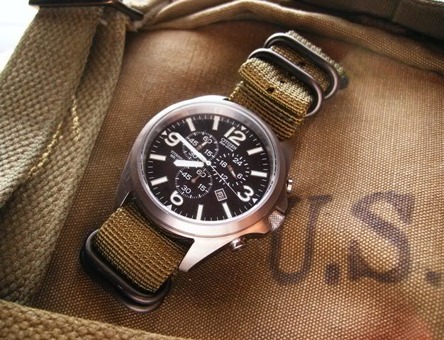 citizen titanium watch: citizen military watch :: at0660 :: 44mm