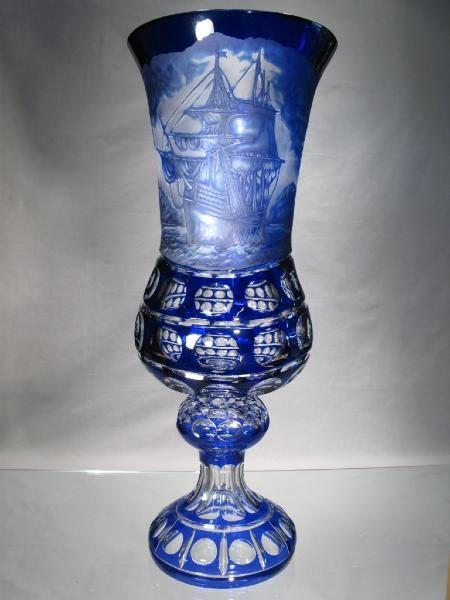 Vase en cristal taillé - Vase Bateaux - Vase en Cristal de Bohème