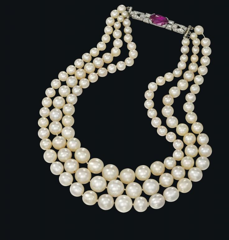 A 3 row natural pearl necklace that sold for $1.64 million at Christie's!