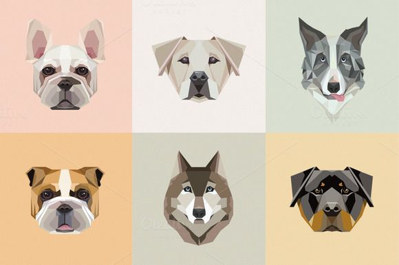 Geometric dogs vector illustrations by Polar Vectors on @creativemarket