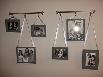 Coat Racks + Ribbon + Frames = Creative!Ribbons Photos, Decor Ideas, Curtains Rods, Cute Ideas, Photos Wall, Hanging Pictures With Ribbons, Hanging Photos, Pictures Frames, Hanging Frames