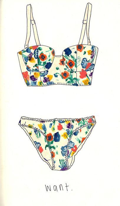 #illustration #floral #lingerie Stop by my Etsy Shop: www.etsy.com/shop/TeoldDesign