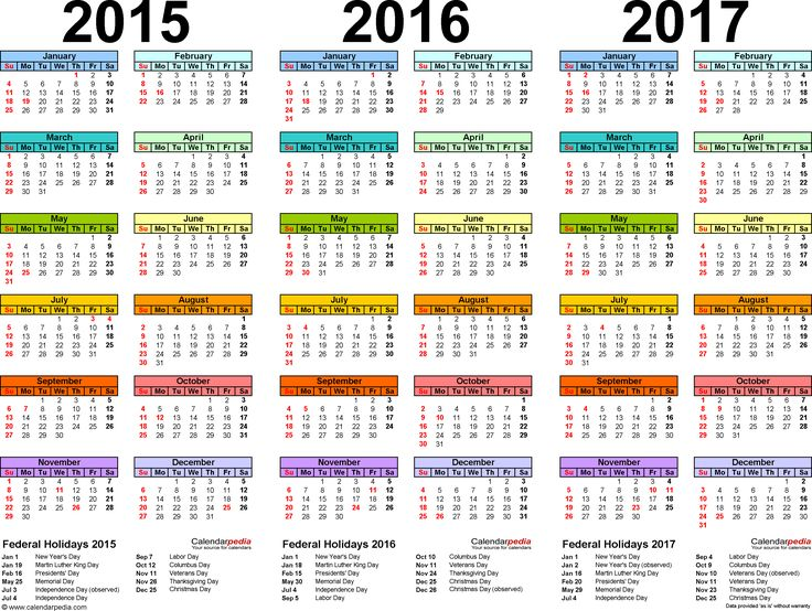 2015 calendars | Template 1: PDF template for three year calendar 2015/2016/2017 ...