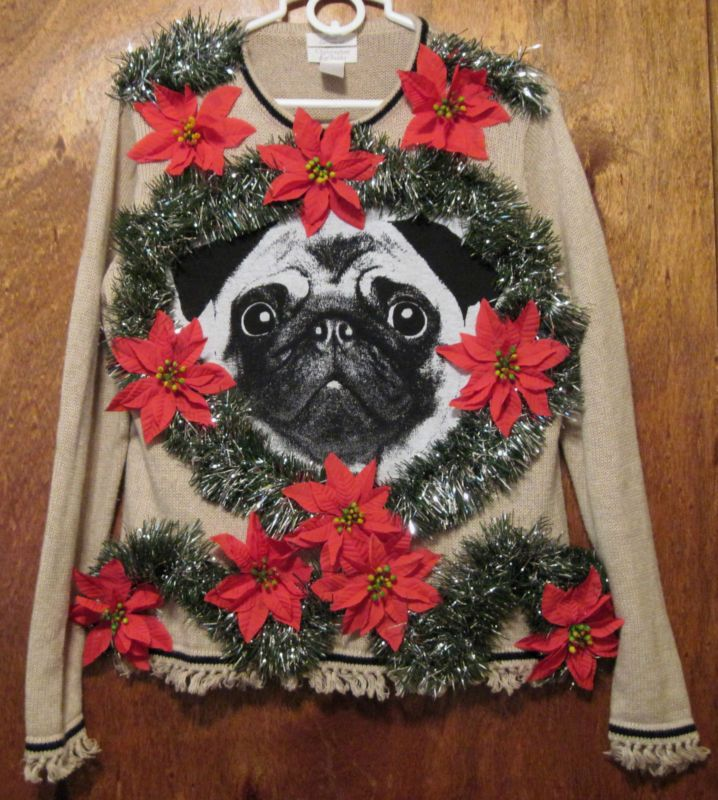 ugly pug sweaters details about cute pug dog poinsettias ugly christmas 6219